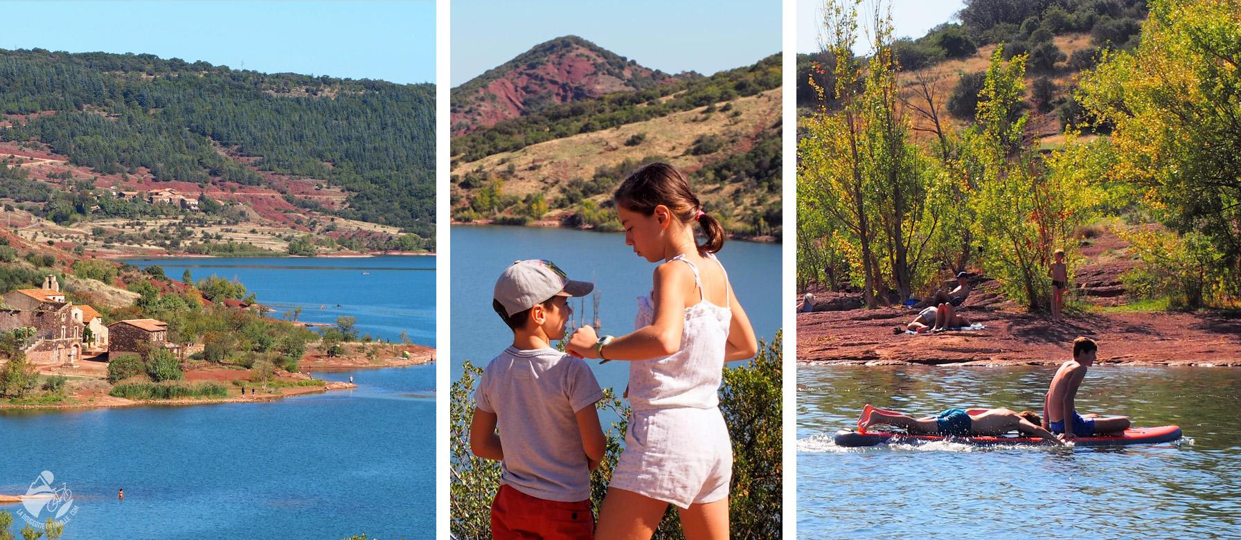 lac salagou, enfant, terre rouge, ruffe, hérault, occitanie