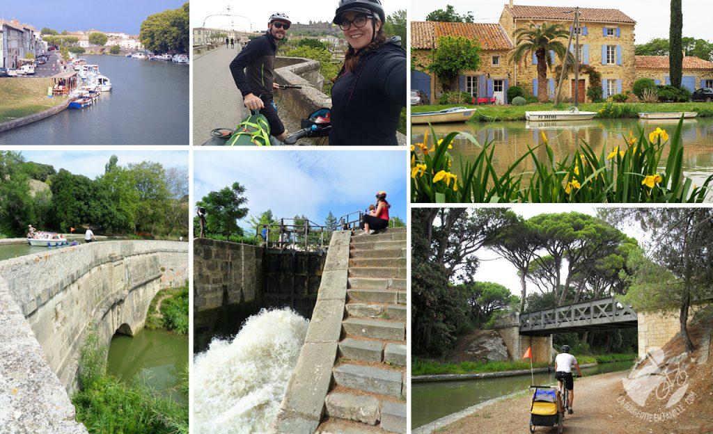 canal du midi, écluse, couple, vélo, carcassonne